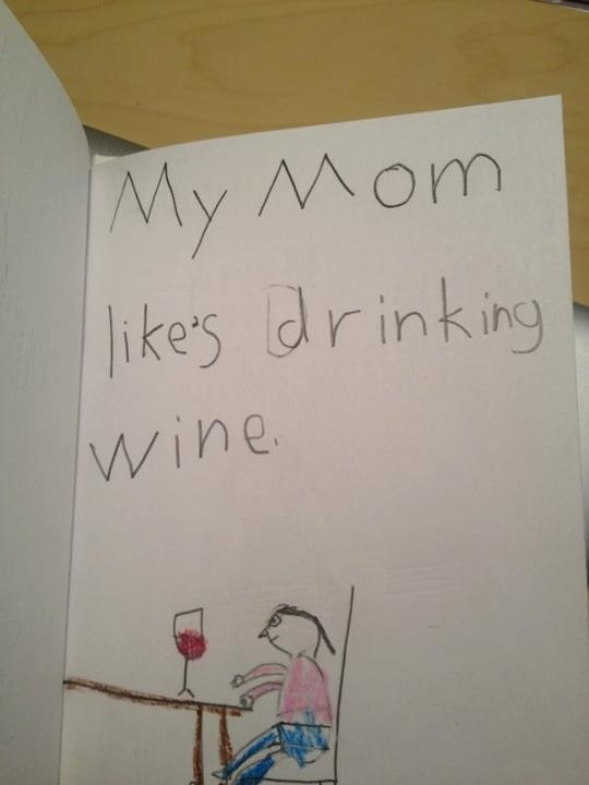 1. This girl was supposed to write about her mom