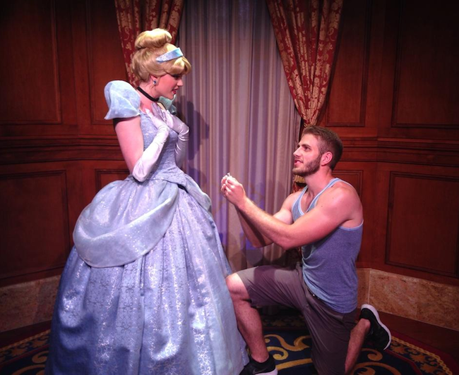 He hit up Cinderella, Ariel, Rapunzel, Jasmine, and even Gaston, before finally proposing to Tinkerbell.