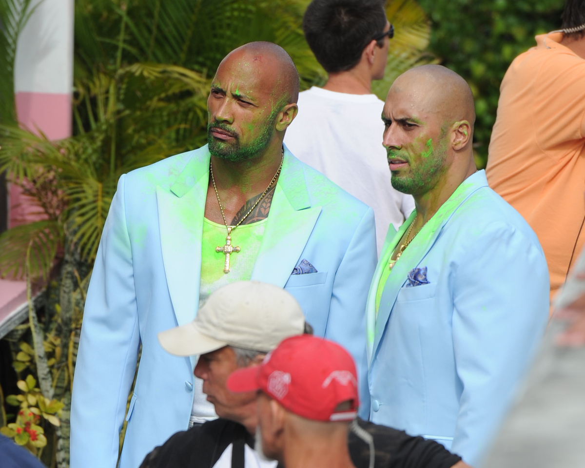5) Dwayne Johnson (left) and his stuntman sighting on the set of Pain & Gain on April 14, 2012 in Miami.