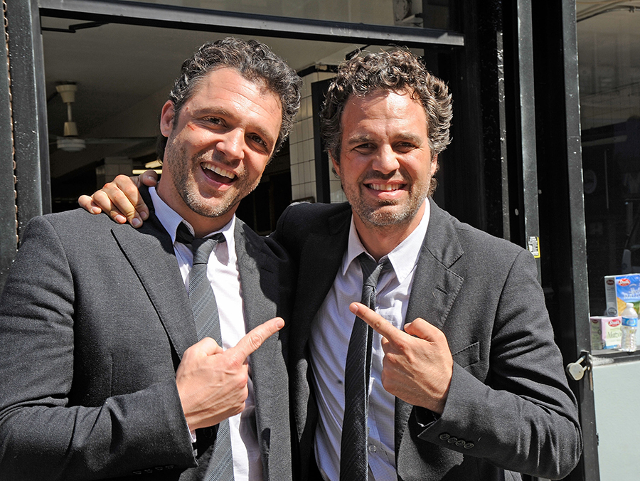 8) Anthony Molinari, stunt double for Mark Ruffalo (right), filming on location for Now You See Me on March 22, 2012 in New York City.
