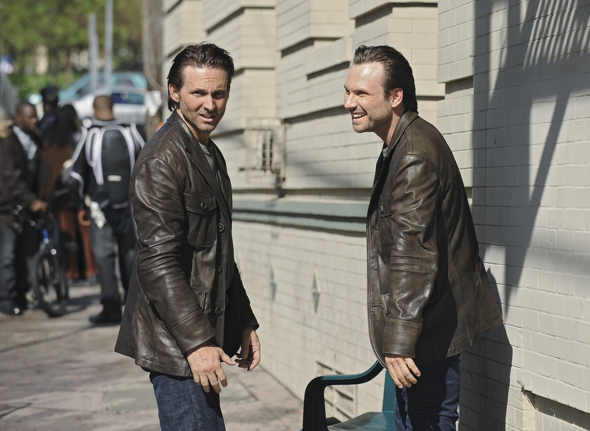 6) Christian Slater (right) with his stunt double, Marc Shaffer, on the set of ABC