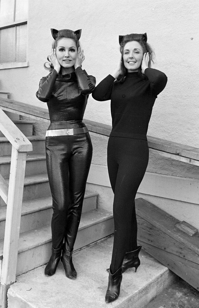 11) Julie Newmar (left) with her stunt double on the set of the Batman TV series on March 3, 1966.