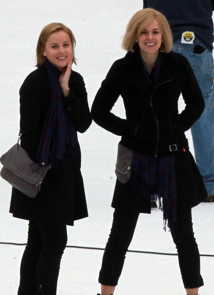 12) Actress Abbie Cornish (left) took to the ice with her stunt double in New York City, New York on March 31, 2010 to film her newest movie Limitless.