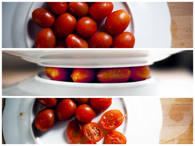 Tomatoes: Stabilize them between two plates and slice right through.