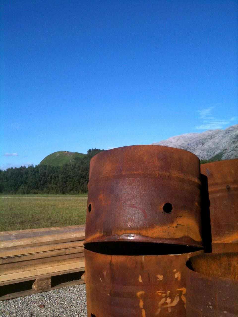 This rusty bucket is having a delightful day.