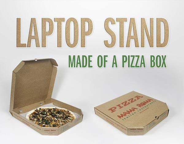 1.) A laptop stand you can create with one pizza box.