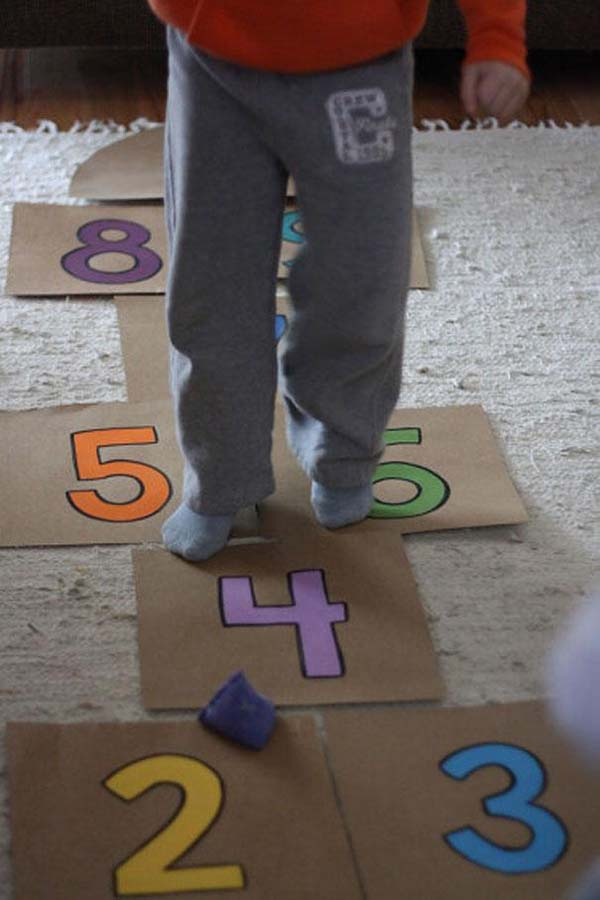 18.) Custom indoor hopscotch.