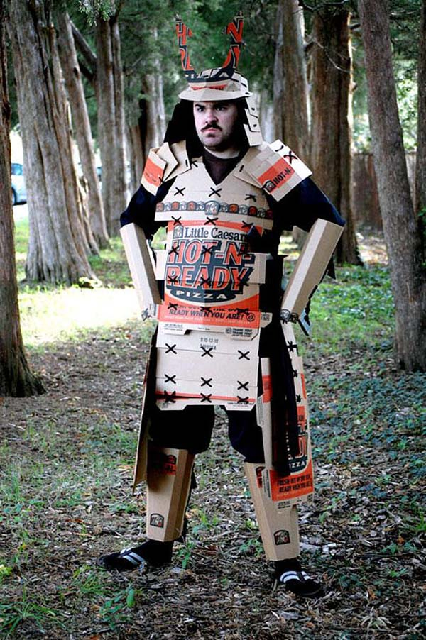 19.) A pizza box samurai costume.
