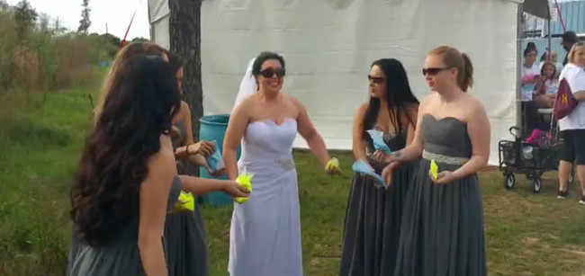 Manulak took her bridesmaids to the Color Fun Fest in Tampa, and they all wore their respective dresses.